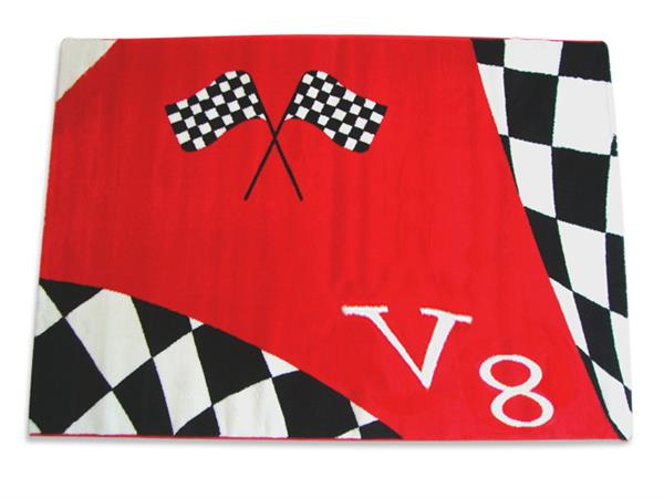 Tapijt V8  rood kinderkamer jongenskamer