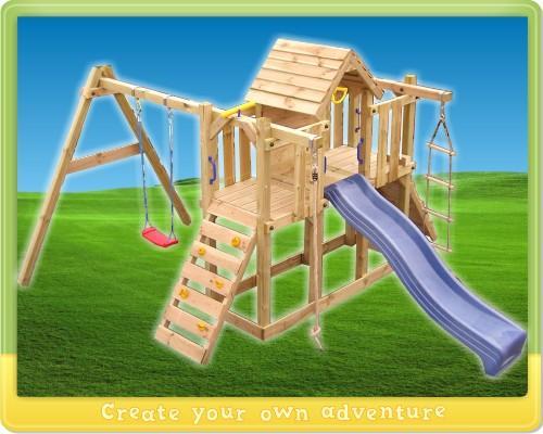 Speeltoestel Wickey Twinstar, klimtoren glijbaan